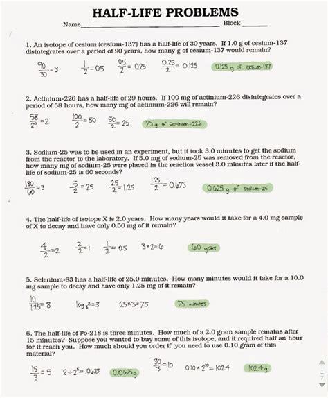 tom schoderbek chemistry half life problems