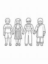 Holding Hands Children Coloring Pages Around Lds Primary Drawing Four Nationalities Illustration Line Different Row Standing Clothing Colouring Styles Drawings sketch template