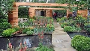 jardin contemporain avec bassin d39eau allee en pierre With superb amenagement jardin avec bassin 5 bassin