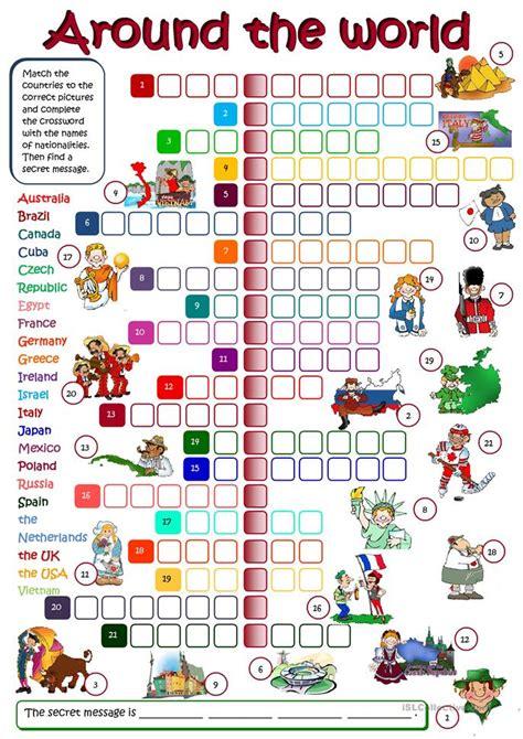 world crosssword worksheet  esl