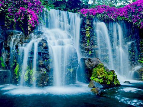 beautiful blue waterfall  hawaii wallpaperscom