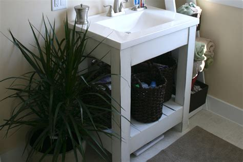 ana white farmhouse style vanity base  slatted shelf diy projects