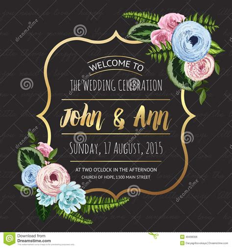 wedding invitation card  painted flowers stock photo