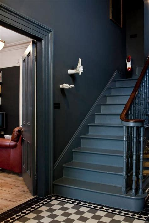 dark gray walls paint   victorian stairs dark