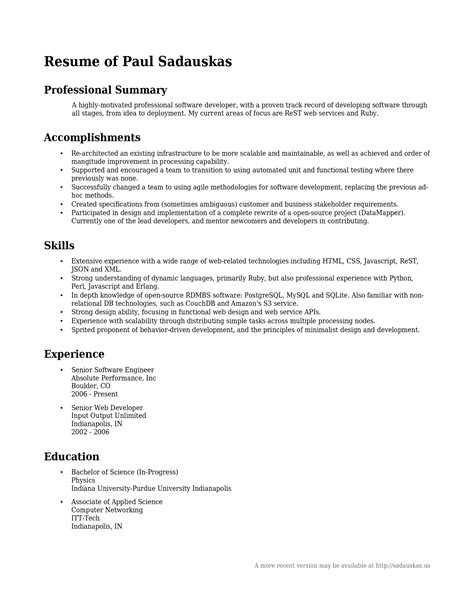 resume professional summary project scope template