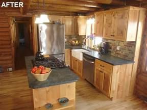 Log Cabin Kitchen Backsplash Ideas by Diy Network S Sweat Equity Log Home Kitchen Remodel