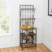bakers rack with wine storage Antique brass Faux Marble Shelf Bakers Rack Brass rack ...