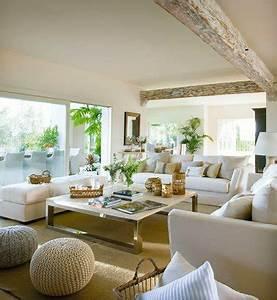 deco salon blanc et beige With tapis chambre bébé avec entretien des canapés en cuir