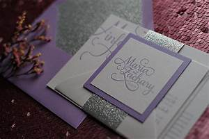 Real wedding lavender silver glitter wedding for Lavender avenue wedding invitations
