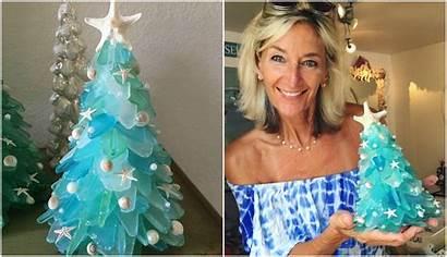 Glass Christmas Sea Trees Woman Hand Morning