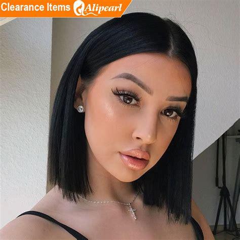 short bob straight wig human hair lace front wigs  women natural color wig alipearl hair