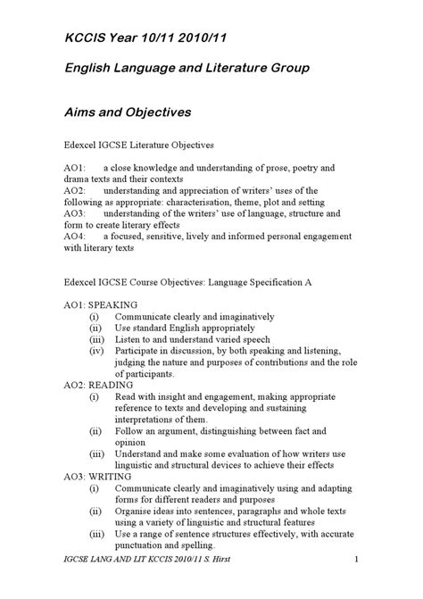 KCCIS IGCSE Language and Literature Outline by Steven
