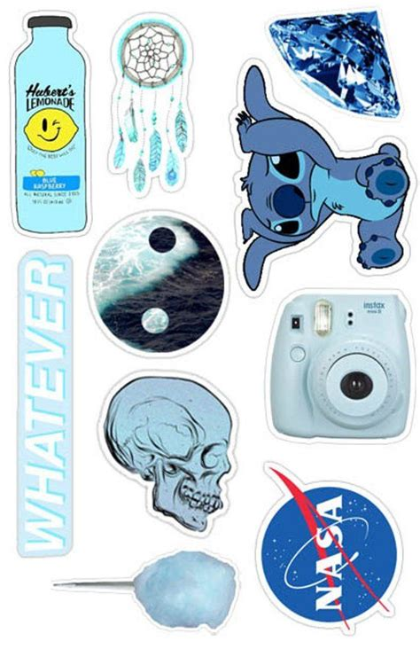 blue aesthetic sticker pack    laptop stickers