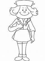 Nurse Coloring Draw Netart Professions sketch template