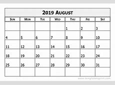 August 2019 Printable Calendar printable weekly calendar