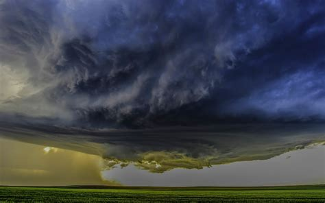 nature landscape supercell storm clouds field wind