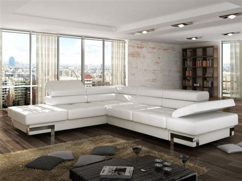 canapé simili cuir blanc canapé d 39 angle convertible en simili damien noir ou blanc