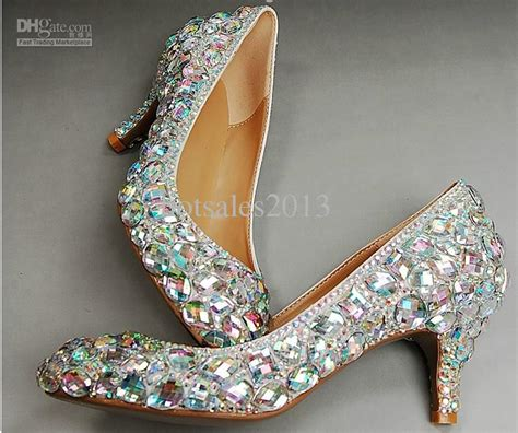 wedding sparkly glitter high heels  prom rhinestone wedding shoes bridal shoes middle heel