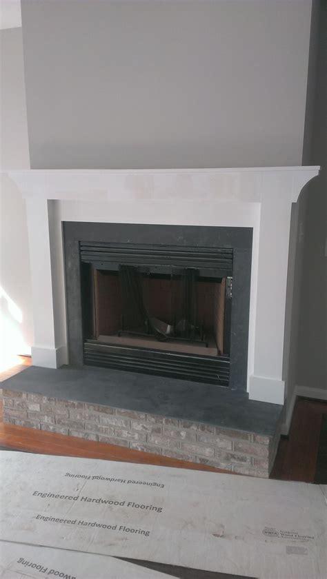 raised fireplace hearth  bluestone  matching brick