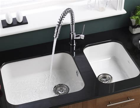 Kitchen Sink With Taps by Astracast Lincoln 5040 Main Bowl Ceramic Gloss White