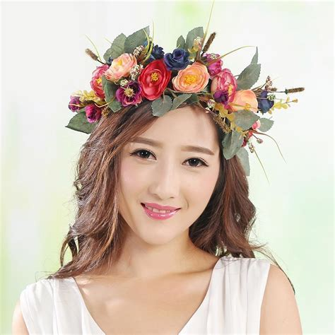 hot women beach party crown bride wedding flower wreath