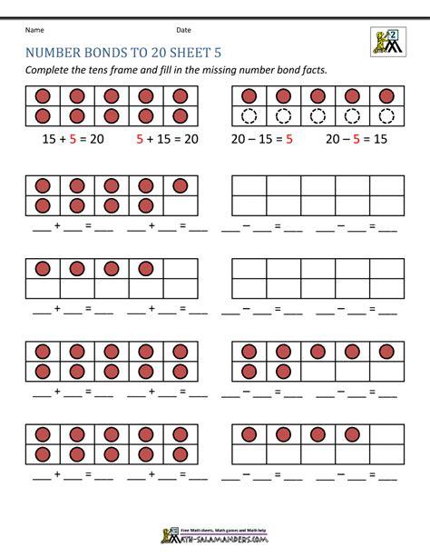 number bonds to 20 worksheets