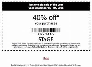 Stage Stores Coupon 40 Off Your Purchase 1222 1224
