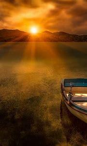 Morning Sunrise Sun Lake Boat Evaporation Fog Hd Wallpaper ...