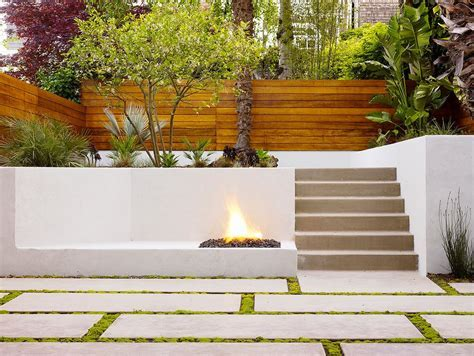 Concrete Fire Pit Patio Transitional with Outdoor Living