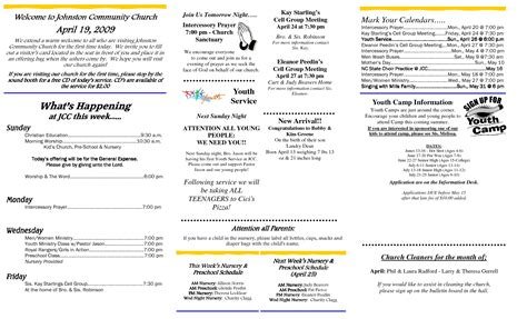 The Gallery For > Church Bulletin Templates