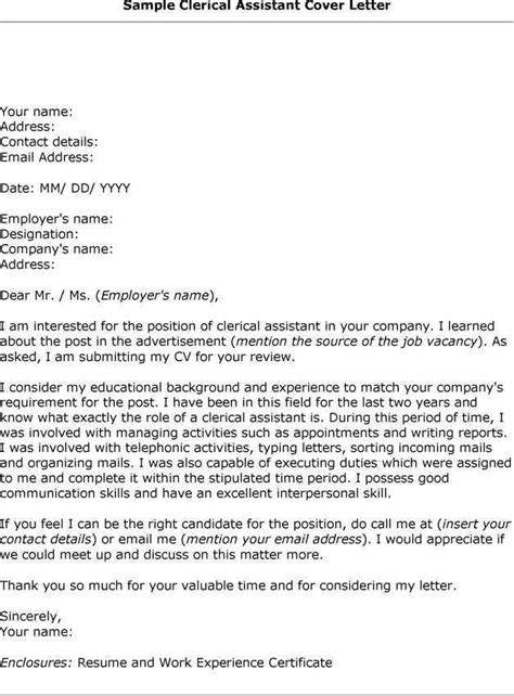 cover letter sle best application for clerical