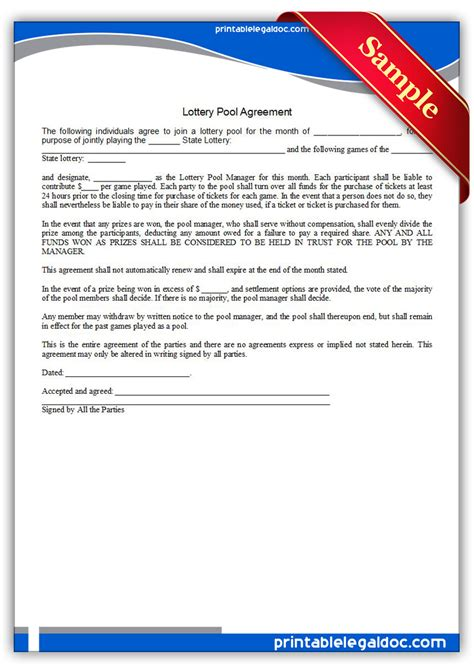 Lottery Contract Template by Free Printable Lottery Pool Agreement Form Generic