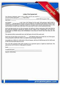 free printable lottery pool agreement form generic With group lottery contract template