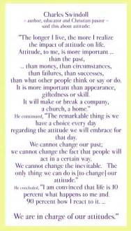By Charles Swindoll Attitude Quote