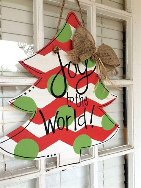 christmas tree joy   world wooden door hanger