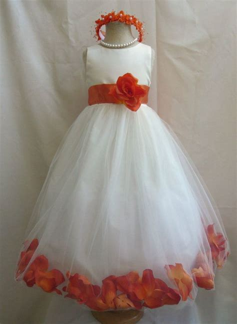 flower girl dress ivoryorange burnt petal wedding