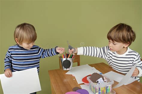 Kids Arts And Crafts Activity, Sharing And Playing