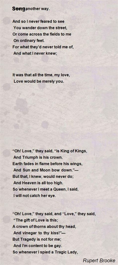 song poem  rupert brooke poem hunter
