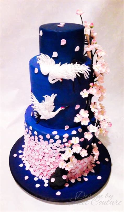 orientalcherry blossom themed wedding cake cake