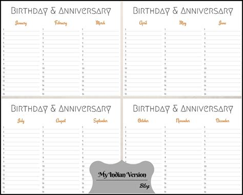 Birthday And Anniversary Calendar Template by My Indian Version Birthday Anniversary Calendar Free