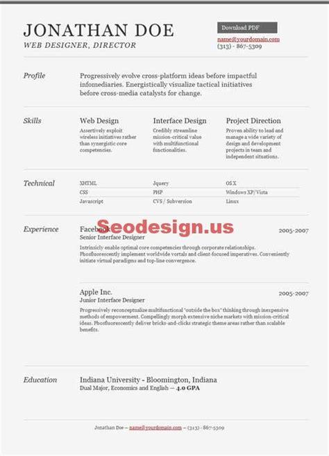 Html5 Resume Template by 10 Html Portfolio Resume Cv Templates