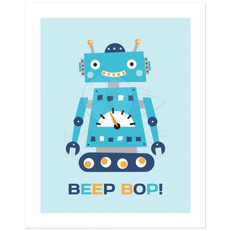 retro nursery wall print with text quot beep bop quot