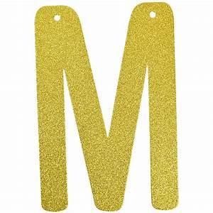 glitter letter banner garland 6inch gold letter m With gold letter garland