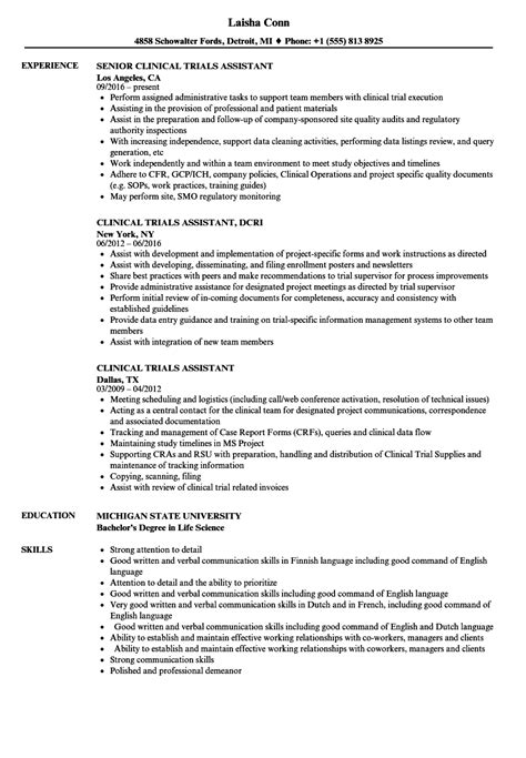 Clinical Assistant Resume by Clinical Trials Assistant Resume Sles Velvet