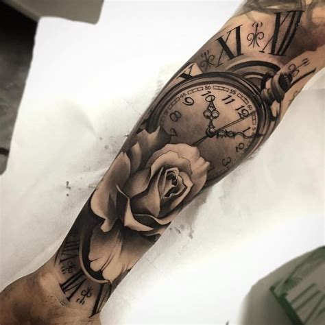 rose clock tattoo arm sleeve special moment endless love tattoo ideas  sleeve tattoos