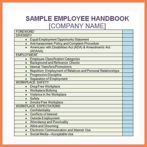 company handbook template company letterhead