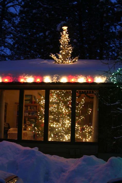 install christmas decorations on roof tree through the roof want need