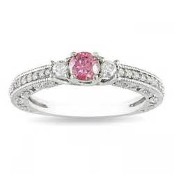 pink sapphire with three engagement ring jewelocean - Pink Gemstone Engagement Rings