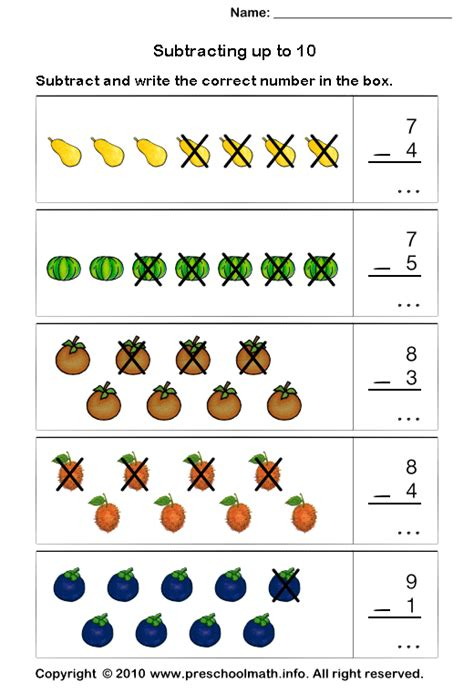 Math Worksheets Kindergarten Subtraction Homeshealthinfo