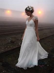 jol224 airy flare lace cap sleeves flowy chiffon boho With flowy wedding dress with sleeves